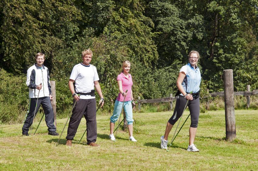zu sehen ist eine gruppe von sportlichen jungs und mädels beim nordic walking in freier Natur im sportlichem Outfitt
